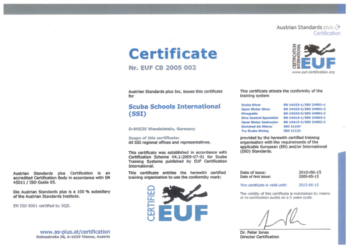 diveSSI Image: ISO-Certification-SSI-2010